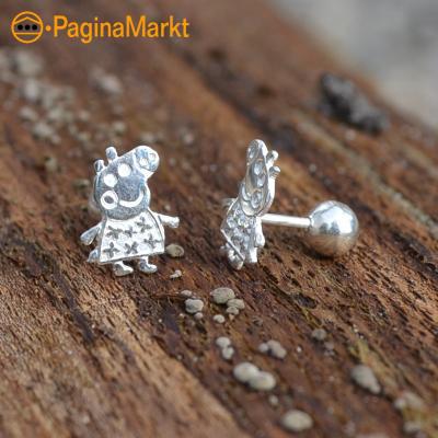 Zilveren oorbellen Peppa Pig