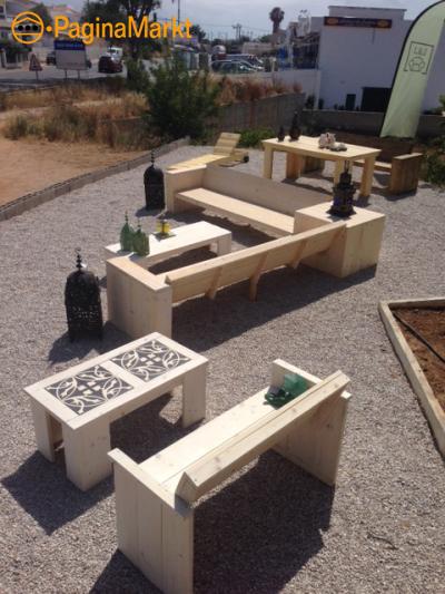 Steigerhout tuinmeubelen op maat gemaakt in Algarv