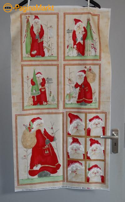 Paneelstof here comes santa van Red Rooster Fabric