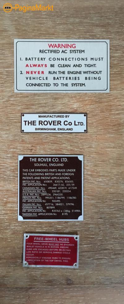 Land rover series embleem plaquette info plates