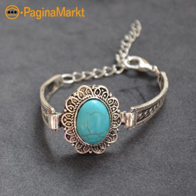 Turquoise ovalen armband